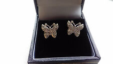 BEAUTIFUL SILVER TONE BLINGY BUTTERFLY STUD EARRINGS SET WITH SIMULATED DIAMONDS