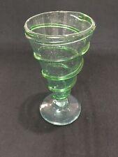 1 Mexican Glassware Green Swirl Pilsner Hand Blown Bubble Glass