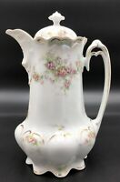 Antique M.Z. Austria #933 Coffee Pot, Pink & White Roses With Gold Accents