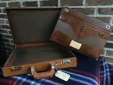 VINTAGE 1980's DISTRESSED CANADIAN CARIBOU LEATHER LAPTOP BRIEFCASE BAG R$1198