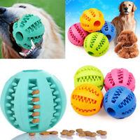 Pet Dog Puppy Cat Training Dental Toy Rubber Ball Chew Treat Dispensing Holder #