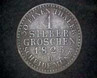 1825-D GERMANY PRUSSIA 1 SILBER GROSCHEN KM#410 -22.2% SILVER  #19044