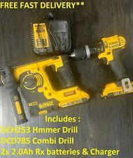 Dewalt DCK206D2 18V Twin Pack DCD785 Combi Drill With DCH253 SDS Hammer 2x 2.0ah