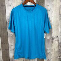 Zella Women Size Large Athletic T-Shirt Blue Short Sleeve Scoop Neck Stretch NEW