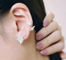 Silver Bow&Arrow Stud Earrings Womens Personality Rhinestone Fashion Jewelry