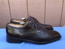 EUC $185 Mezlan US 10 Nicola Black Calf Deerskin Leather Cap-Toe Brogue Shoes A5