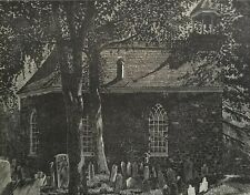 "CHARLES PONT - Original Woodcut Woodblock Print ""Old Dutch Church Tarrytown NY"""