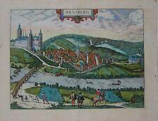 Original 1588 Braun & Hogenberg Birds-Eye-View Town Map ARNSBERG Germany Castle