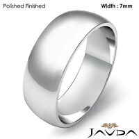 7mm 18k Gold White Classic Mens Wedding Solid Band Dome Plain Ring 8.9g 12-12.75