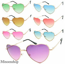 9f81222a550d Ladies Heart Shape Sunglasses Gold Boho Festival Lolita Style Fancy Dress  Party