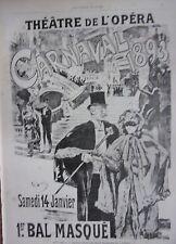 GRAVURE SUR BOIS 1892 D'APRES AFFICHE F. LUNEL THEATRE OPERA PREMIER BAL MASQUE