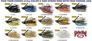 Strike King Jig Bitsy Bug Finesse Weedguard No Rattle Any BBJ Color Size Lure