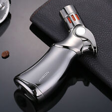 Jobon Refillable Butane Quad 4 Flame Cigar Cigarette Jet Torch Gas Lighter Gray