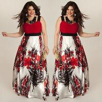 Plus Size Women's Summer Boho Long Maxi Evening Party Dress Beach Chiffon Dress#