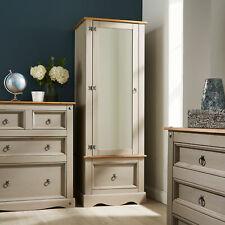 Grey Pine Single Mirrored Door Wardrobe Corona Armoire Solid Wood Storage Drawer