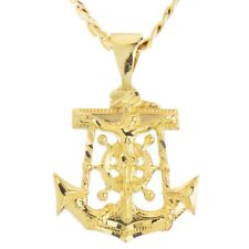 "Solid Gold Plated Anchor Jesus Pendant 20"" Concave Cuban Chain Necklace MPG 003G"