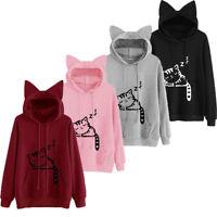 US Stock Women Hoodie Long Sleeve Pullover Cat Ear Jumper Sweatshirt Casual Tops