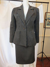 VINTAGE YVES ST LAURENT RIVE GAUCHE CAREER pant/skirt SUIT MADE IN FRANCE SZ 38