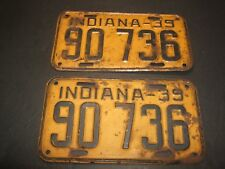 Vintage 1939 Indiana License Plates (2)