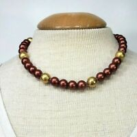 Napier Red Bead Necklace Vintage Simple Gold Tone Acrylic