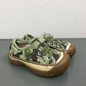 Little Boys Sz 8 Keen Camouflage Camo Casual Canvas Fabric Green Shoes Sneakers