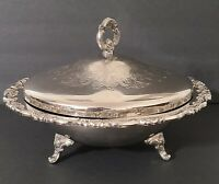 Vintage Oneida Covered Serving Bowl , Footed Dish Silver Plated