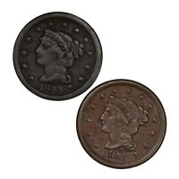 Raw 2 Pack 1844 1845 Braided Hair 1C US Mint Copper Large Cent Coin Lot Of Two