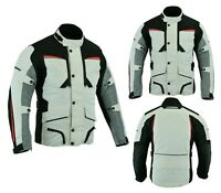 Mens Motorbike Motorcycle Long Jacket Textile Waterproof Off White/Grey Armoured