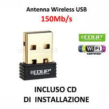 ANTENNA NANO MINI USB WIRELESS ADATTATORE WIFI CHIAVETTA WI-FI PENNA 150 Mbps cd