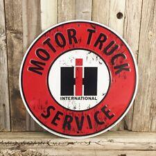 """International Harvester IH Motor Truck Service 12"""" Metal Tin Sign Vintage Garage"""