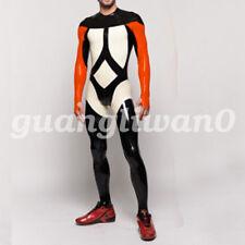Latex catsuit 100% Rubber Men Handsome Long Sleeves Sport Racing suits S-XXL