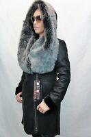 100% Real Shearling Sheepskin Leather Toscana Hood Jacket Coat XS-6XL Black fur