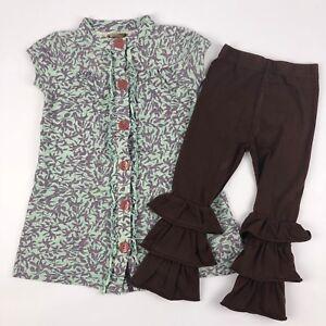 Matilda Jane You & Me Junebug Lap Dress & Brown Leggings Outfit Set Size 4