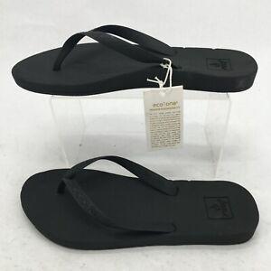 NEW Reef Womens 8 Escape Lux Eco One PVC Free Thong Flip Flop Sandal Black