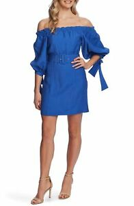 Cece Women's Dress Blue Size 6 Off-Shoulder Balloon-Sleeve Moonlite $149 #264