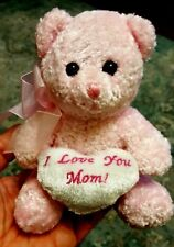 I Love You Mom TEDDY BEAR Flomo Friends Forever PINK With Silver Heart 6 inches