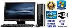 "HP Compaq 8200 Elite Core i3 3.10 GHz 250GB 4GB PC Desktop 19"" TFT Windows 7"