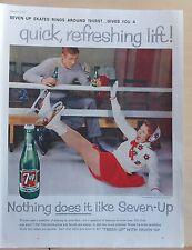 1959  magazine ad for Seven-Up Soda - Skater tumbles at rink, 7-Up Skates rings