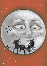 ACEO PRINT OF PAINTING HALLOWEEN WITCH CARRIAGE black cat MOON BATS RYTA HORSE