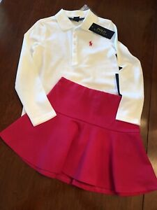 *NWT Polo Ralph Lauren Girl's White Top 2-Piece Pink Skort Set Size 5 NWT