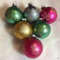 6 Vtg Shiny Brite Mercury Glass Ball Army Glitter Xmas Ornaments Soldier Castle