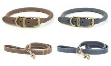 Ancol Timberwolf Leather Dog Collars & Leads All Sizes Round