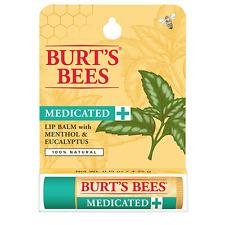 [BURT'S BEES] MEDICATED 100% Natural Beeswax Lip Balm (MENTHOL EUCALYPTUS) NEW