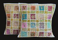 Set Of 2 Indian Handmade 16X16 zari Cotton Hippie Cushion Cover Home Decor