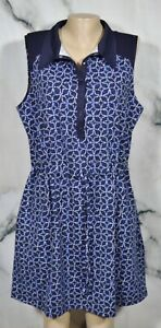 TALBOTS Blue White Patterned Collared Dress XL Snaps at Neckline Athleisure