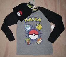 POKEMON *Pikachu* L/S Gray Layer Tee Shirt + Pokeball Beanie Hat Set sz 10/12