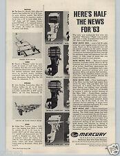 1963 PAPER AD Mercury Outboat Motor Motors New Merc 850 650 350 200 85 65 35 HP