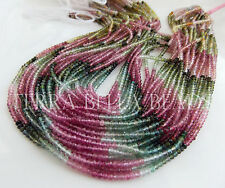 """13"""" AAA WATERMELON TOURMALINE micro faceted gem stone rondelle beads 2.5mm multi"""