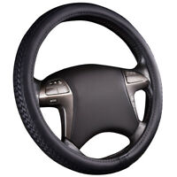 "Black 14.5/"" 15.5/"" Basic Design PU Leather Steering Wheel Cover"