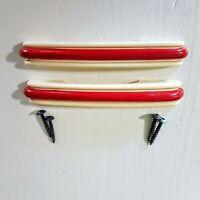 """RED & WHITE Drawer Pull Cabinet Handle LOT 2 Art Deco VTG Plastic Hardware 5.75"""""""